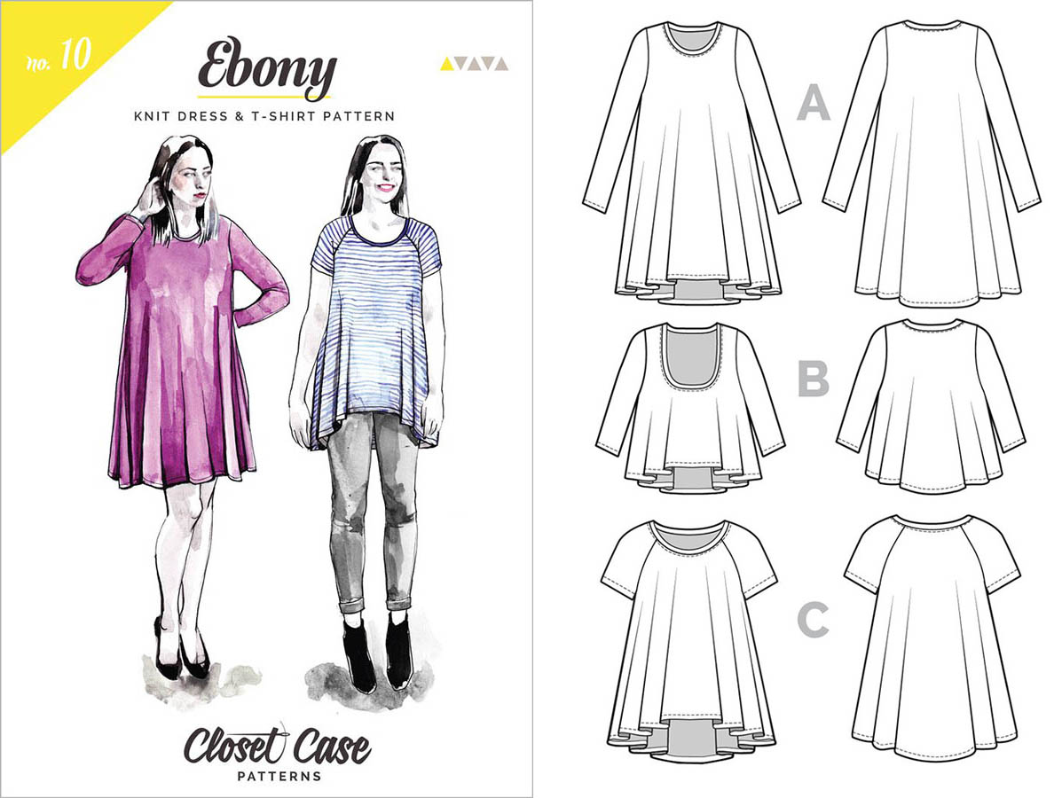 6cc50e2e ... sewing pattern from Closet Case Patterns, with it's beautiful  illustrated front cover and clear drawings of both versions of this lovely  tee and dress.