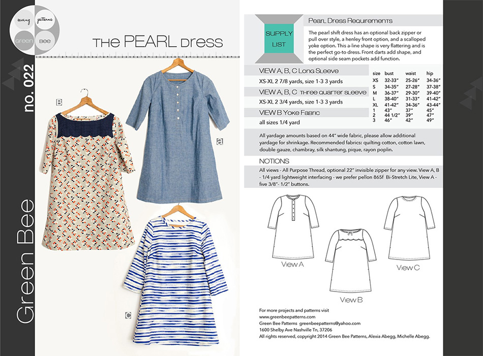Green Bee Sewing Patterns   Dragonfly Fabrics, Dress Fabric for ...