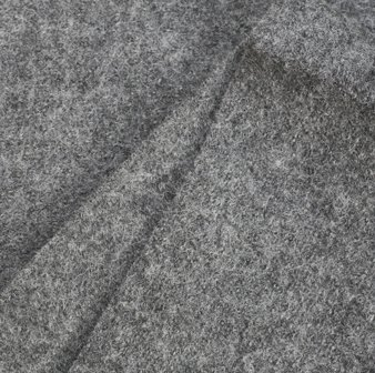 O.65m REMNANT Boiled Wool Fabric - Grey Melange