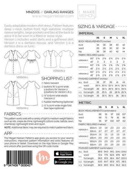 Megan Nielsen - Darling Ranges Dress Sewing Pattern