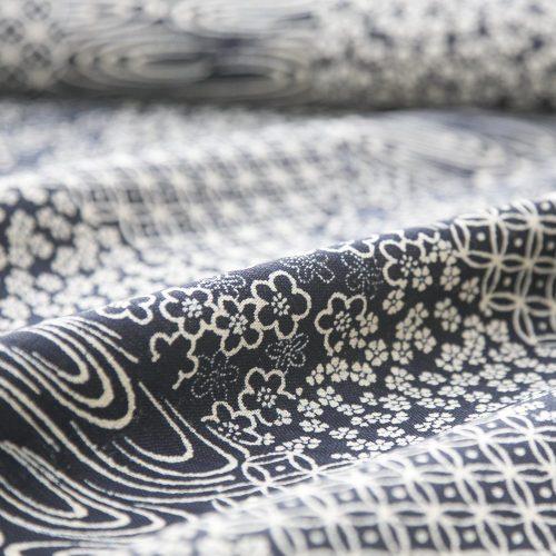 Japanese Cotton Print Dress Fabric - Indigo Patchwork