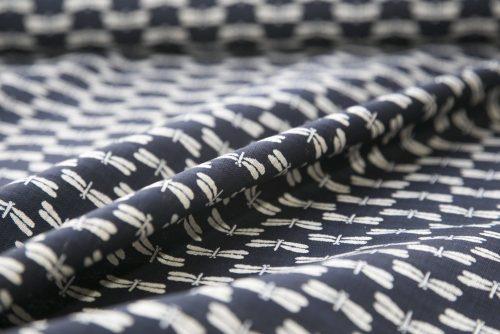 Japanese Cotton Print Dress Fabric - Dragonfly Indigo