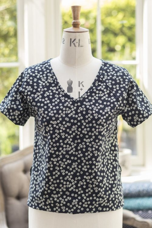 Japanese Cotton Print Dress Fabric - Small Flower Indigo