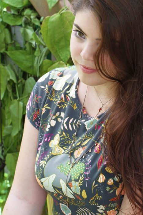 Art Gallery Knit Dress Fabric  - Nightfall Moon Stories Spark