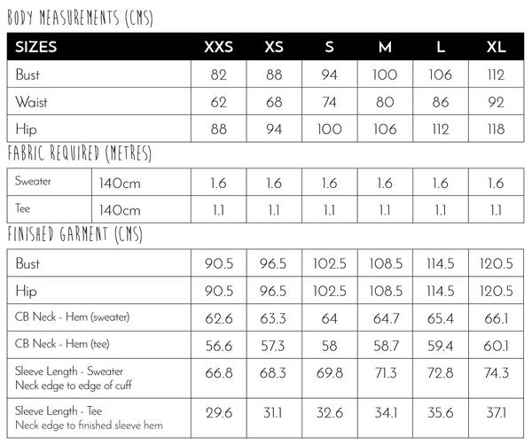 kyoto sweater measurements