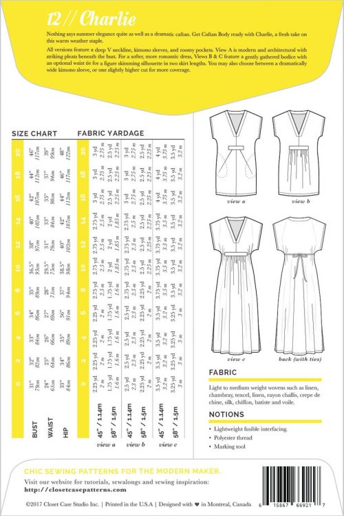 Closet Case Files Sewing Pattern - Charlie Caftan