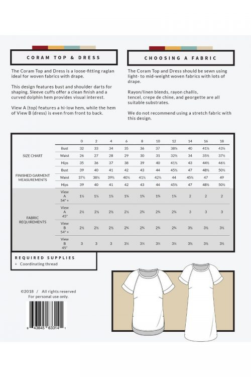 Allie Olson - Coram Top and Dress Sewing Pattern