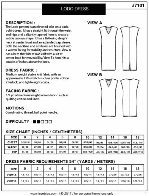 Lodo Dress- True Bias Sewing Patterns