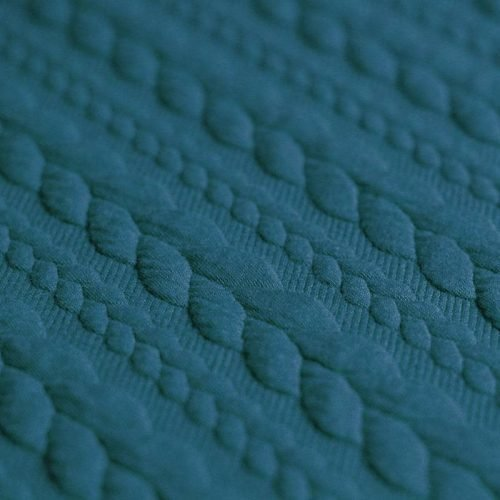 Cable Knit Jacquard Dress Fabric - Teal