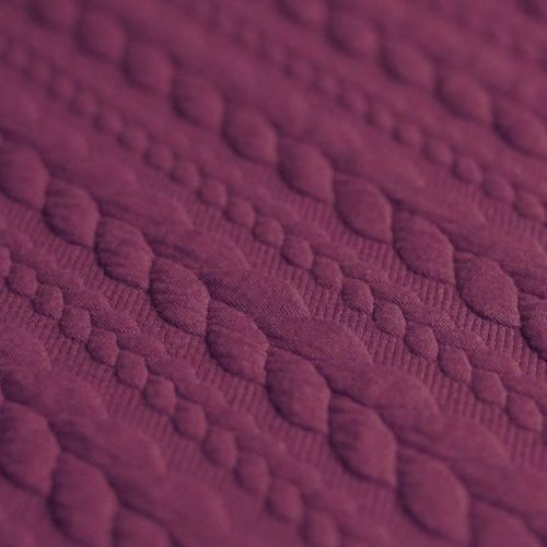 Fuchsia Cable Knit Jersey Fabric