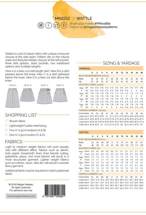 Wattle Skirt Sewing Pattern - Megan Nielsen