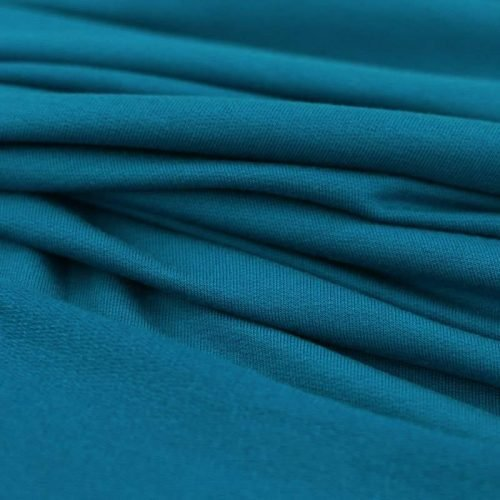 modal french terry stretch jersey fabric teal blue