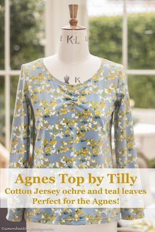 Agnes Top Sewing Kit in Ochre & Teal Leaves Jersey