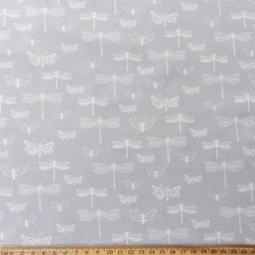 Dragonflies Cotton Poplin Dress Fabric - Light Grey