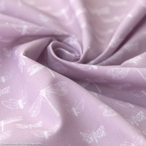 dragonflies cotton poplin fabric lilac pink