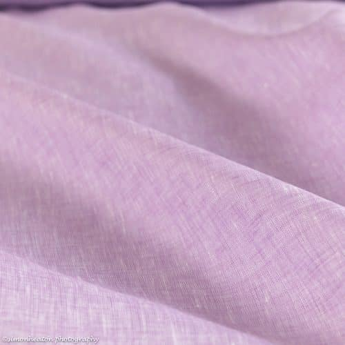 Fine Linen Shirting Fabric - Chambray Pink Lilac