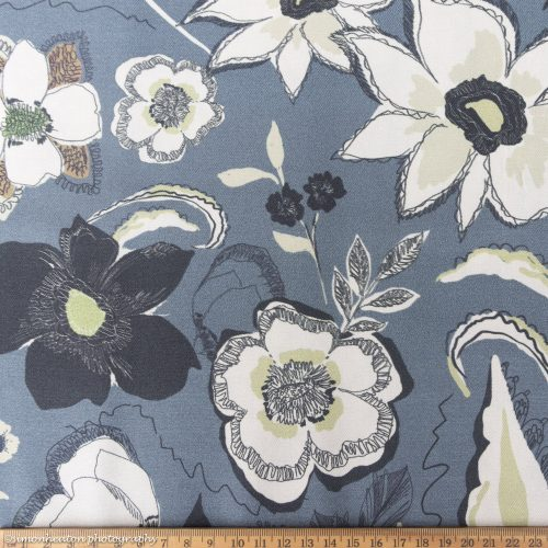 Dusky Blue Vintage Flowers- Viscose Twill Dress Fabric