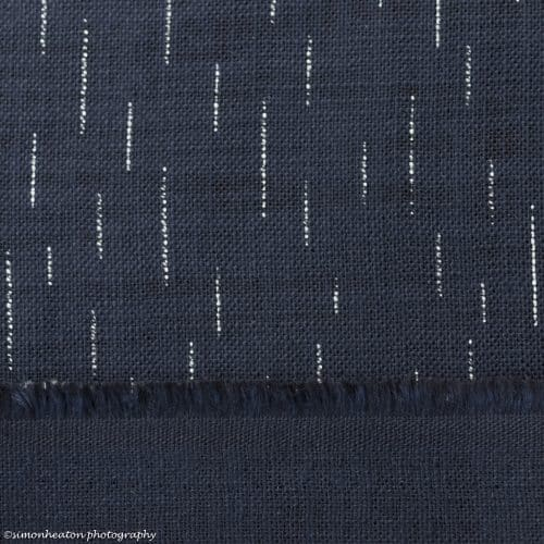Japanese Cotton Print Dress Fabric - Lines Indigo
