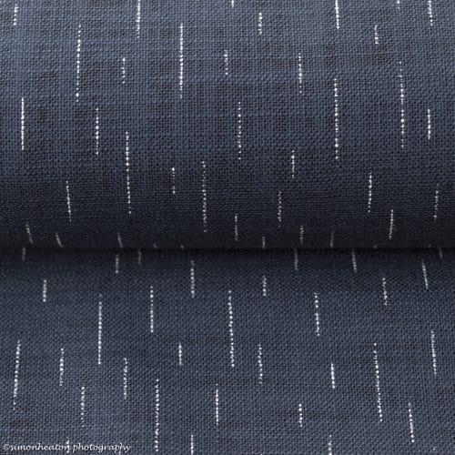 Japanese Cotton Print Dress Fabric - Lines Indigo