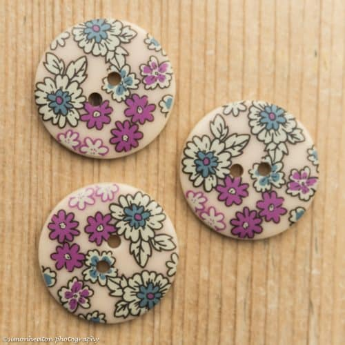 Frou Frou Acrylic Button 25mm- Floral Natural