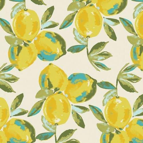 Art Gallery Jersey Dress Fabric - Sage Yuma Lemons Mist