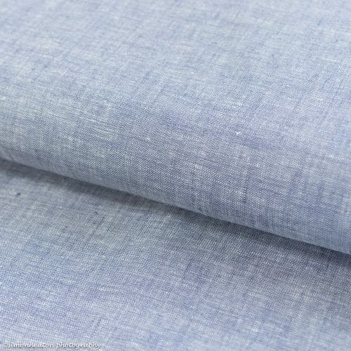 Fine Linen Shirting Fabric - Chambray Light Blue
