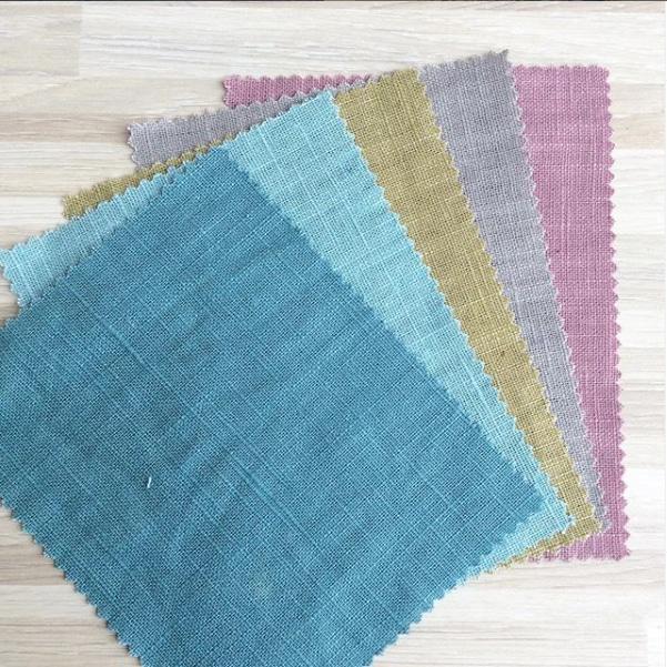 bio linen dress fabric woven in aqua