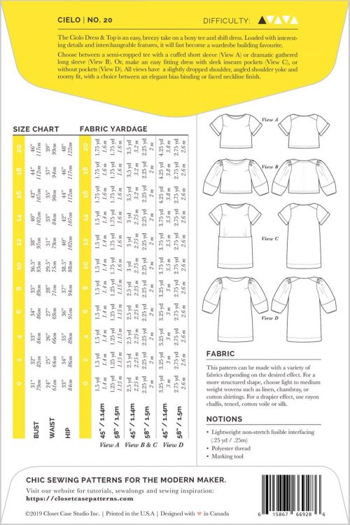 Closet Case - Cielo Top and Dress Sewing Pattern