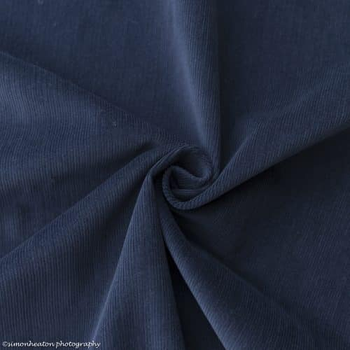 Stretch Needlecord Dress Fabric - French Navy