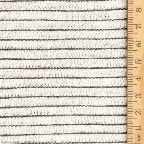 Viscose Slub Jersey Dress Fabric- Ecru Stripe