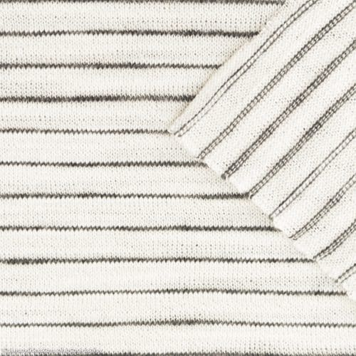 Viscose Slub Jersey Dress Fabric- Ecru Stripe
