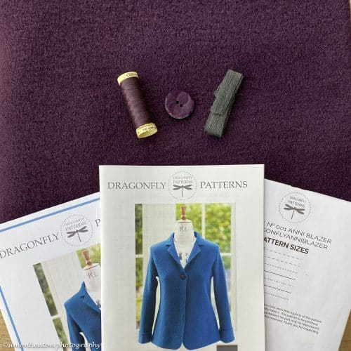anni boiled wool blazer sewing kit