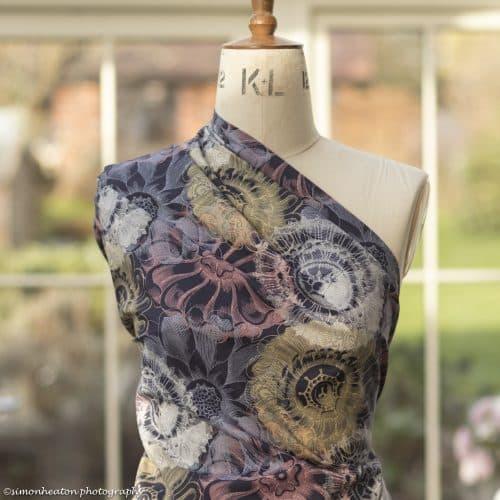 Organic Cotton Poplin Dress Fabric - Vintage Flowers Dark