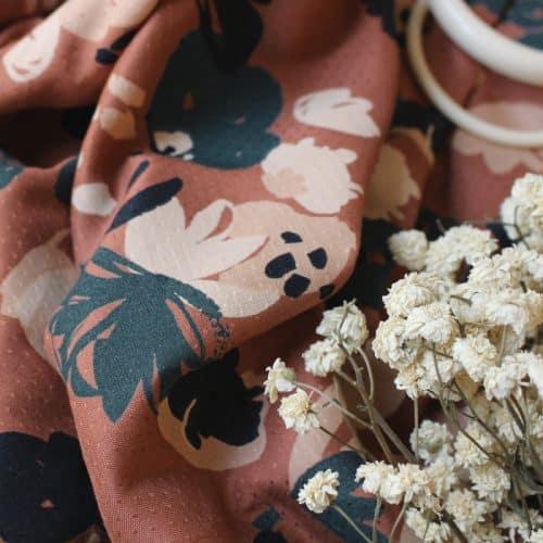 Posie Chestnut Viscose Dress Fabric by Atelier Brunette
