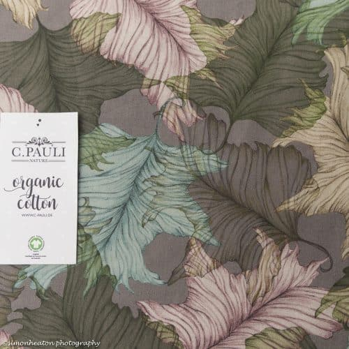 Organic Cotton Voile Dress Fabric - Leaves