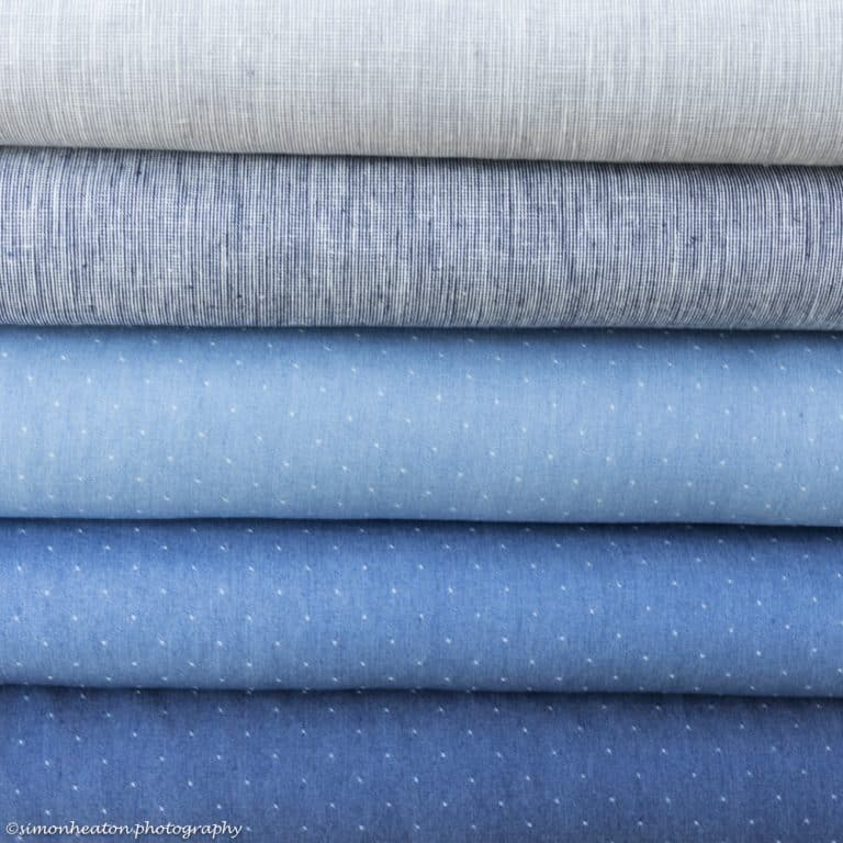 Linen Cotton Dress Fabric - Blue and Grey Chambray