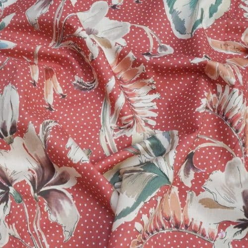 Lady McElroy Cotton Lawn Dress Fabric - Showering Vine Salmon Pink