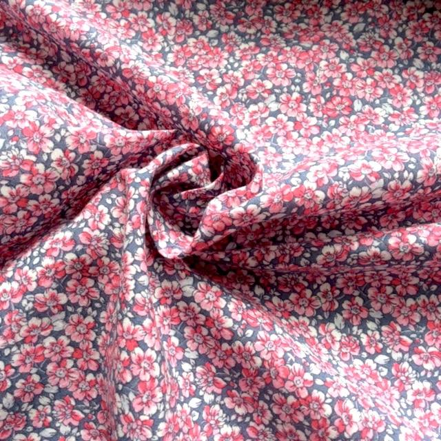 Cotton Lawn Dress Fabric - Floral Dusky Pink