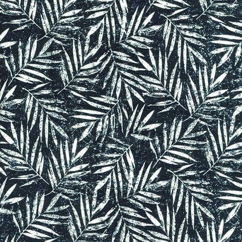 Viscose/Linen Dress Fabric - Palm Leaves Indigo