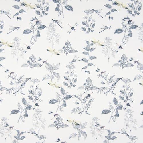 Organic Cotton Lawn Dress Fabric - Dragonflies Off-White