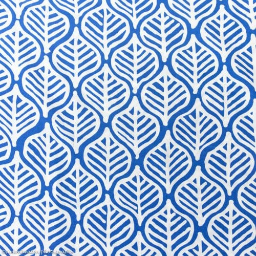 Leaf Print Viscose Print Dress Fabric- Blue