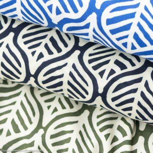 Leaf Print Viscose Print Dress Fabric- Blue