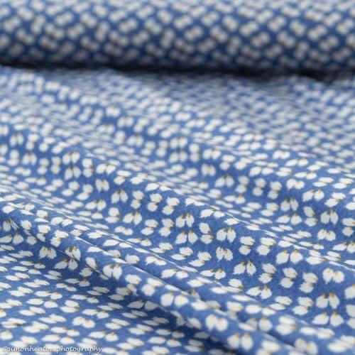 Blue Petals Print Viscose Dress Fabric
