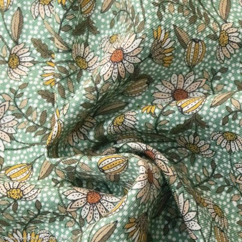 Daisies Viscose Twill Dress Fabric