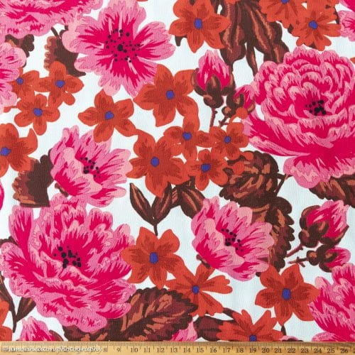 Red and Pink Floral Viscose Crepe Dress Fabric