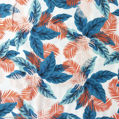 Tropical Leaves Viscose Crepe Fabric - Teal