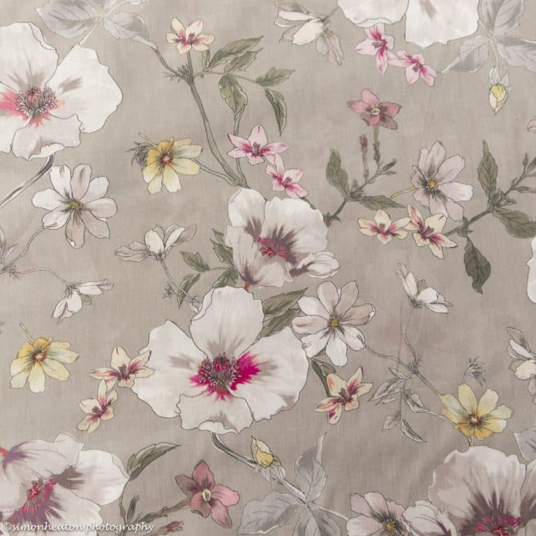 floral cotton lawn fabric grey pink