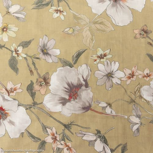 Floral Cotton Lawn Dress Fabric - Olive Sand