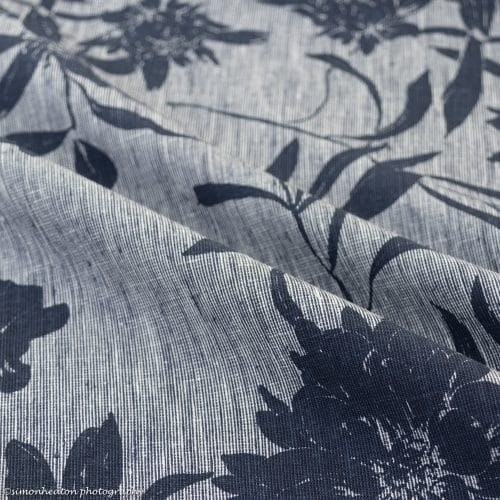 Blue Floral Chambray Linen Cotton
