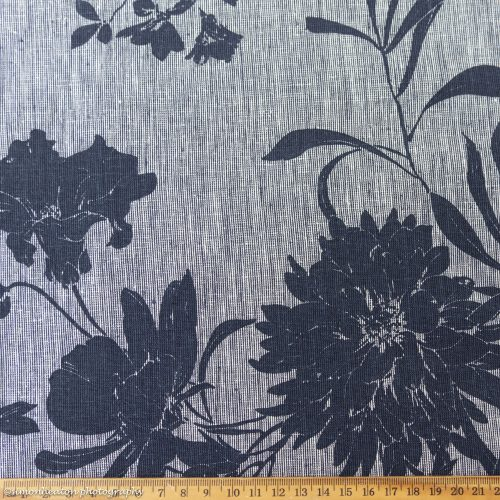 NEW Linen Cotton Chambray Dress Fabric - Floral Blue